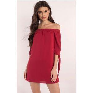 Tobi red off the shoulder dress